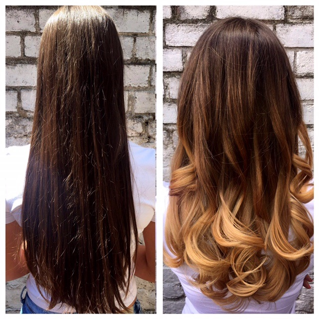 7ad89e053b10 Dark brown hair been give a balayage makeover to give a multiblend of  blonde tones to