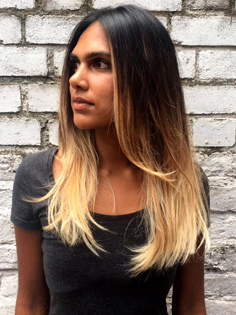 e814cb6f56db Dark brown hair balayaged into a light blonde and blowdried in to a  textured beachy finish
