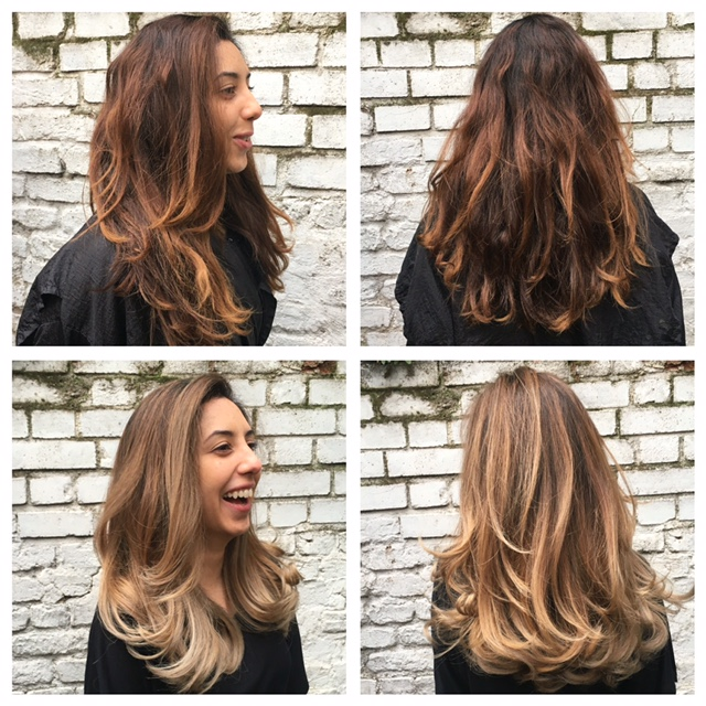 c9e6b99cbd6b Couloured dark hair to a balayage refreshed modern colour in multi blonde  tones by Thea at