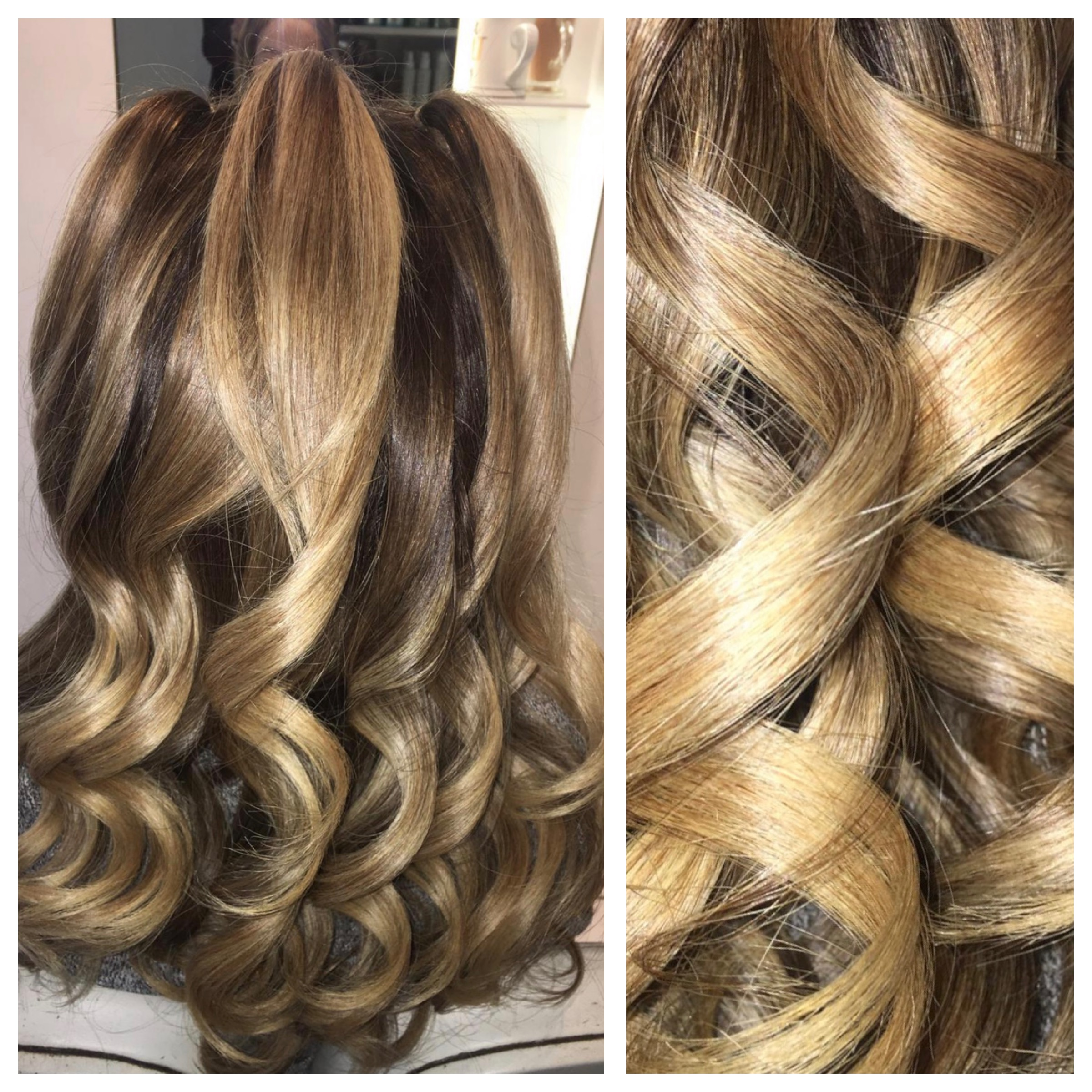 4c022a7d6b90 Long blond hair being tonged by a ghd irons to create a tight curl for the