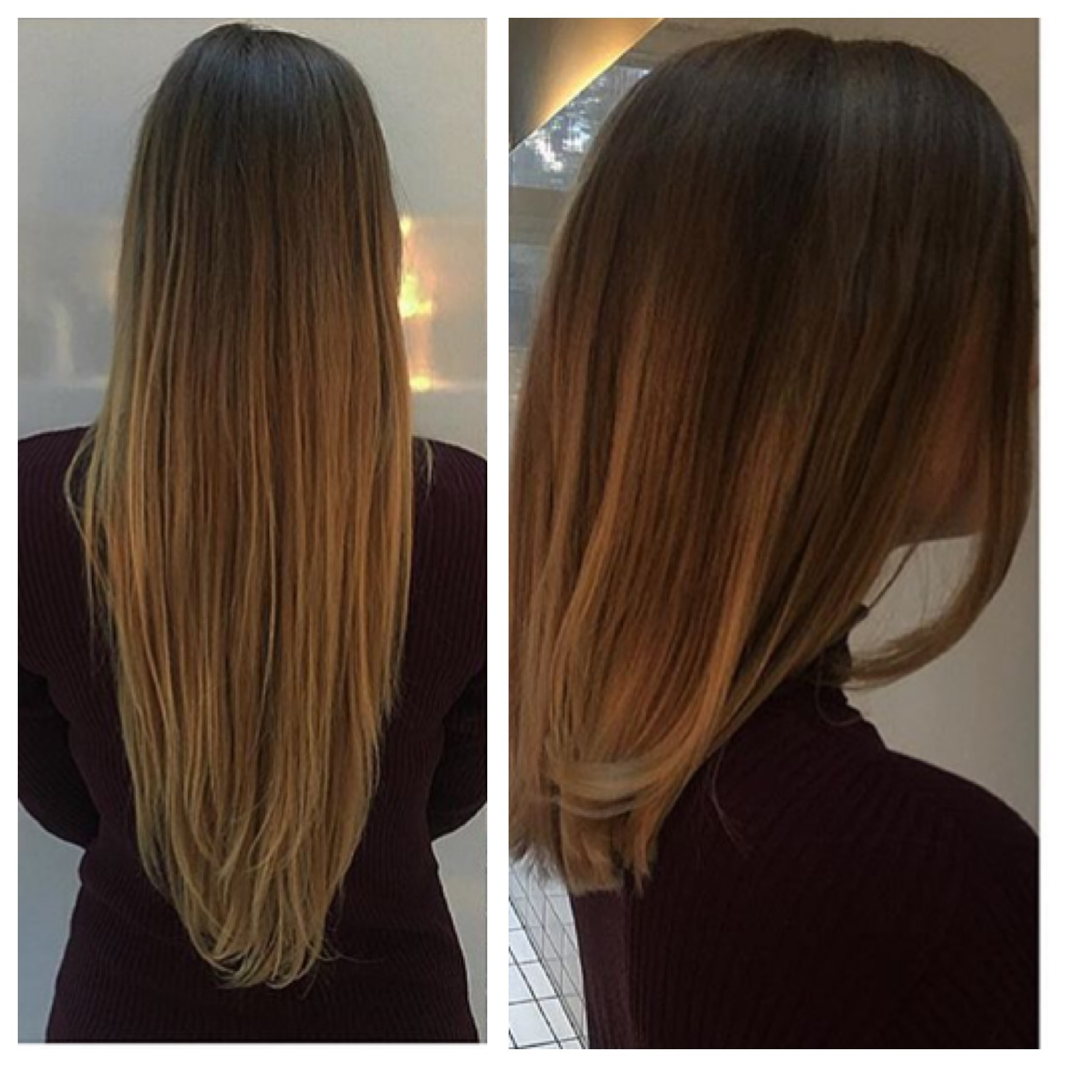 1bf2805d03ba Long straight hair being cut into an off the shoulders length with long  layers by Yasmin