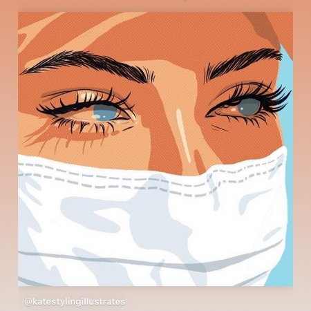 Illustrated picture with girl with blue eyes and white face mask.