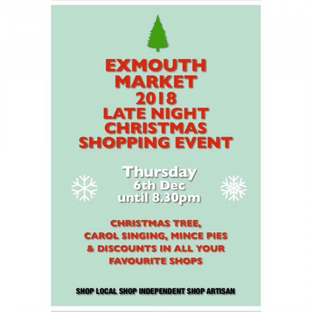Christmas poster explaining Exmouth Market is having a Late night shopping event on Thursday the 6th of December