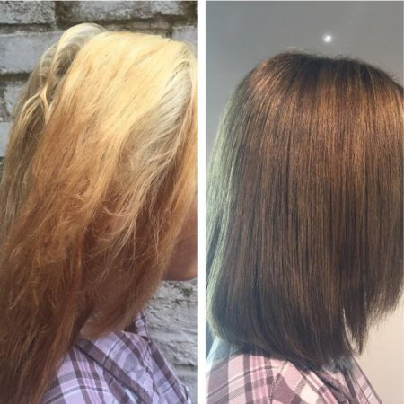 Hair colour correction from light to dark.