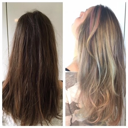 hair coloured from dark brown to blonde with pastel tones done by Leyla at the klinik hairsalon London