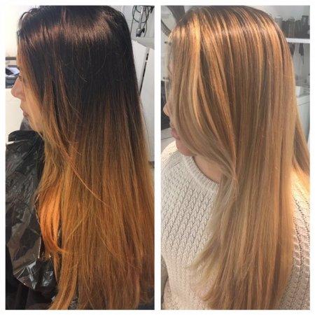 Client going lighter and lighter using Olaplex by Leyla at the klinik salon London