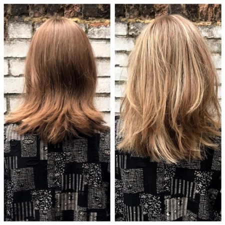 Medium blonde hair has been highlighted throughout to create texture and a sunkissed look to an otherwise flat colour. All done by Mark at the klinik hairdressing in London