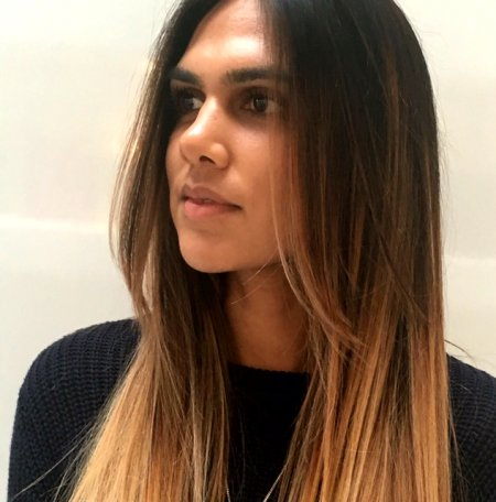 Ombre from dark to blonde, shadow blend done by thea using Olaplex at the klinik hairdressing
