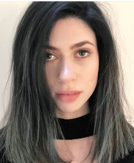 Messy hair has been coloured black to grey using Kenra colours as a balayage technique by Thea at the klinik hairdressing London.
