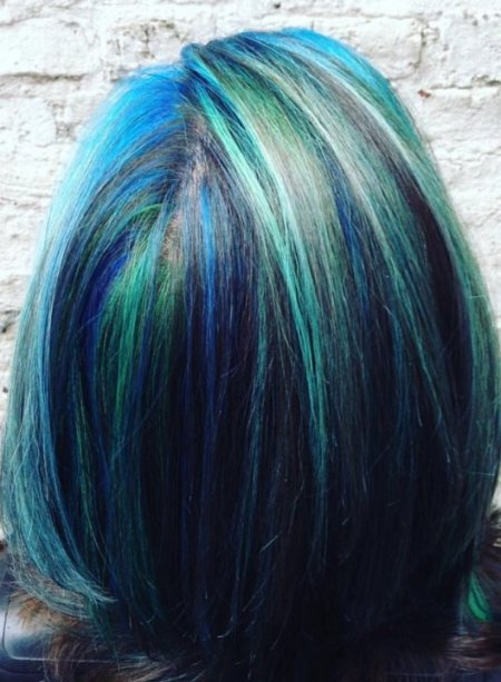 Multicoloured hair in an aqua theme with Manic Panic colours done by Mark at the klinik salonLondon