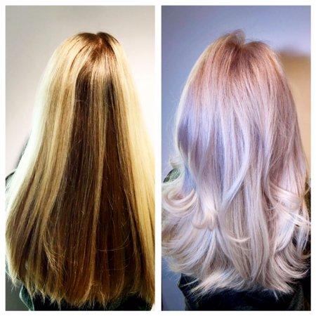 blonde hair taken to the next platinum level by Leyla at the klinik hairdressing London