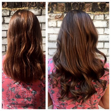 Natural hair has been extended using the Easilocks system by Thea at the klinik hairdressing London