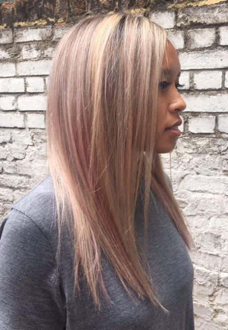 Hair been prelightned and the toned a pastel pink using Schwarzcopf blushme range done by Thea at the klinik salon EC1R 4QE London
