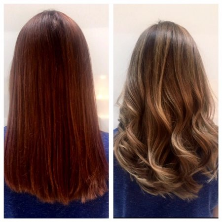 A colour change from Redblonde to a balayage ashy blonde done by Leyla using Olaplex and  Wella from the klinik hairdressing London Farringdon