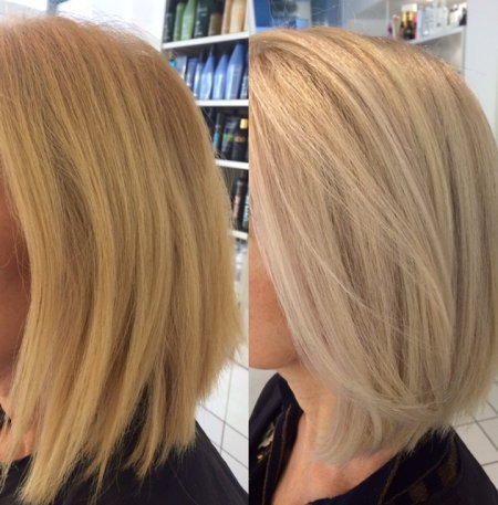 Hair going from warm blond to ashy blonde weaving fine highlights at the klinik hairdressers Islington