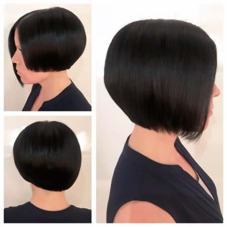 Asymmetric bob shape going from long to short side to side cut by Anna at the klinik salon