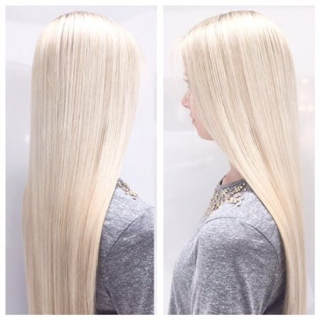 Long hair highlighted with a very icy toner done by Leyla at the klinik in Farringdon London