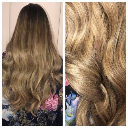 Long thick hair been coloured with highlights and low lights through out to create a real colour melt. All done by Leyla at the klinik hairdressing in Farringdon London