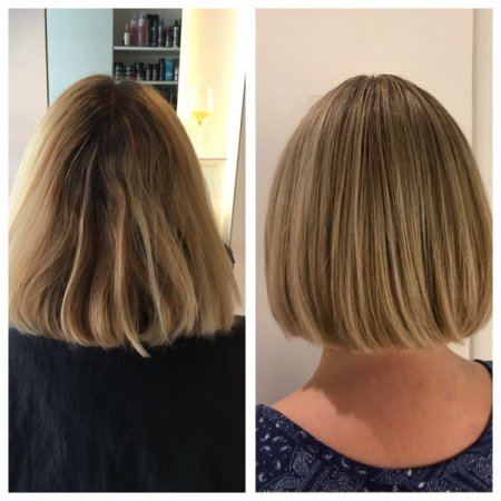 Medium blonde hair has been highlited and cut into a bob by Yasmin, our graduate stylist at the klinik.