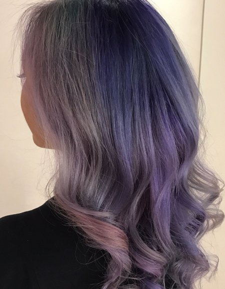 Hair being pre coloured and then hand painted into a colour melt by pravana, manic panic and Olaplex