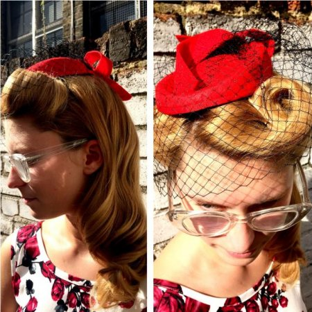 To put hair up with Victoria rolls at tghe fron to create a retro look