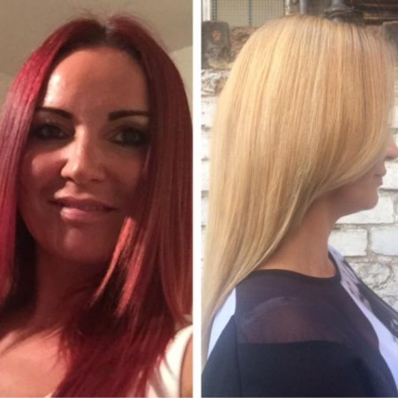 Changing a bright red to blonde hair using Olaplex