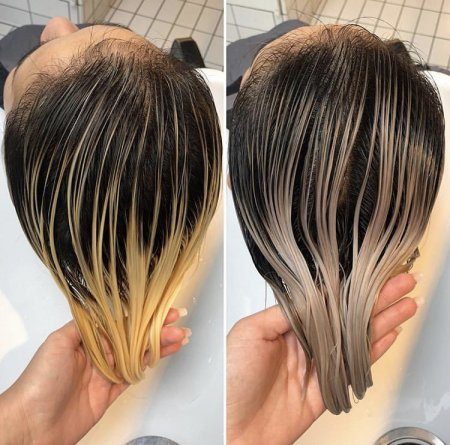 two images of coloured blonde hair one without toner and the other with toner done by Leyla at the klinik hairdressing London