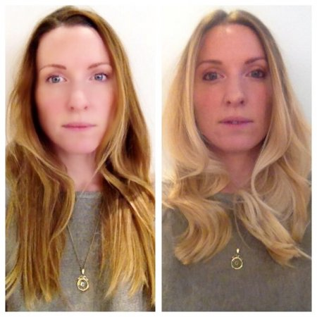 A dark blonde that has been transformed into a summery light blonde to give ultimate shine and texture....Done by Leyla at the klinik hairdressing in Islington London