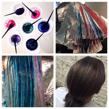 A gent came in with a request on doing a multi coloured petrol guylights tones through his long hair. Mark created a palette of tones from every single colour in the rainbow. A great result from the klinik hairdressing in London