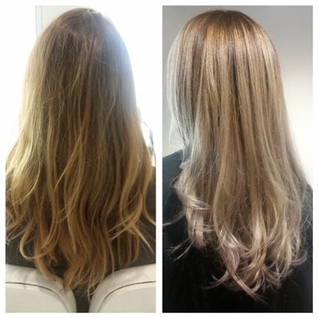 pastel hair being balayaged through darker roots to lighter ends at the klinik salon Clerkenwell
