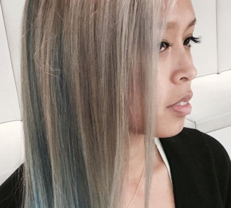 Asian hair going from black to grey with blue tips at the klinik hairdressing London