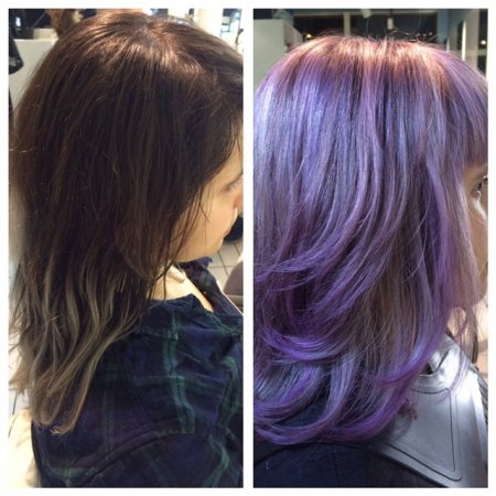 from dark brown to Purple haze using prelighteners and Olaplex and Fudge paintbox at the klinik Farringdon London