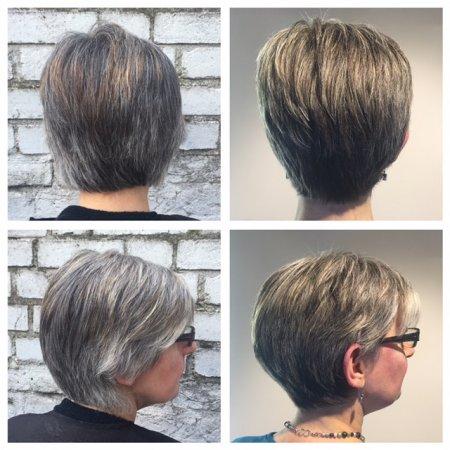 Natural grey tones enhanced using grey shades using Olaplex at the klinik hairdressing Islington