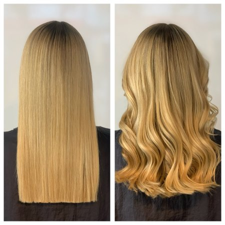 Two images of long blonde hair, styled straight or wavy by Cinzia at the klinik hairdressing