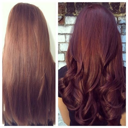 hair being intensified from a dark blonde to rich mahogany colour by Leyla at the klinik hairdressing in London