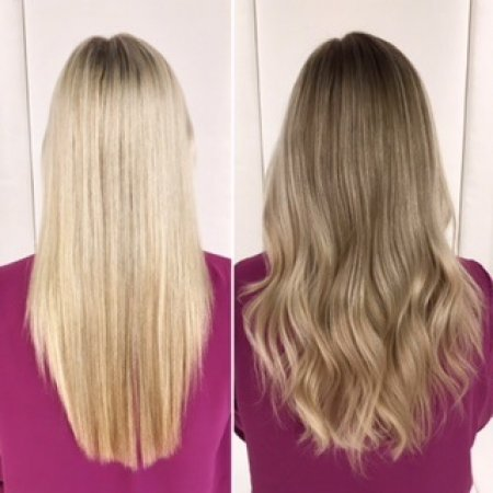 Long light blonde hair has been coloured toned down to create a more autumn blonde tone.Leyla created a soft ash blond all along with Olaplex.