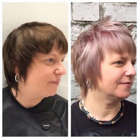 Coloured brown hair has been pre lightened using Wella and Olaplex to keep hair in top condition throughout.