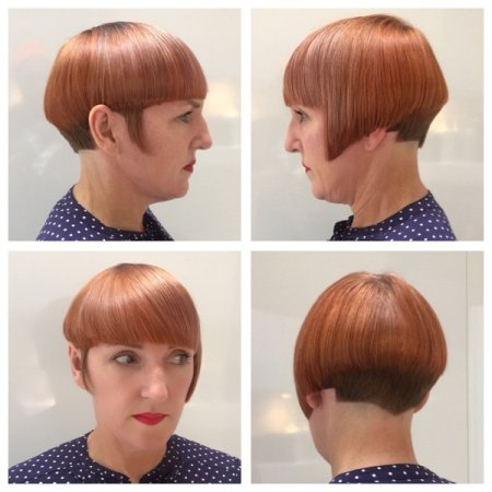 Asymetric graduated bob cut with precision by Mark at the klinik hairdressing Farringdon London EC1