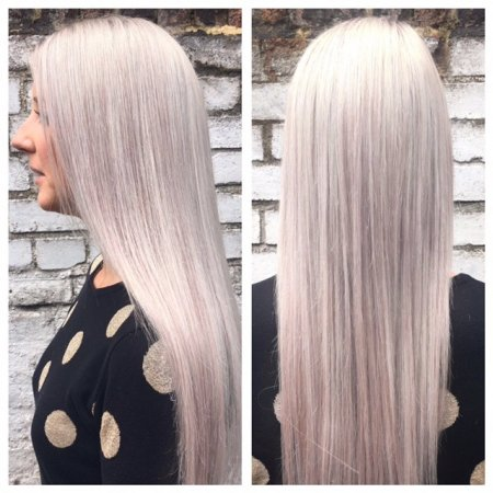 Coloured hair by highlighting the hair using foils and after add an ashy tone throughout by Leyla at the klinik salon Islington