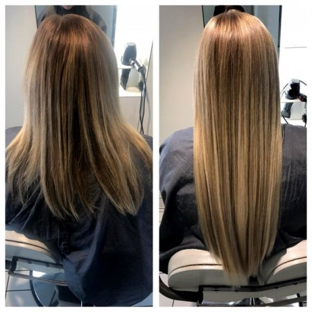 Long hair being extended by Leyla using Easilocks hair giving a natural look at the klinik hairdressing London