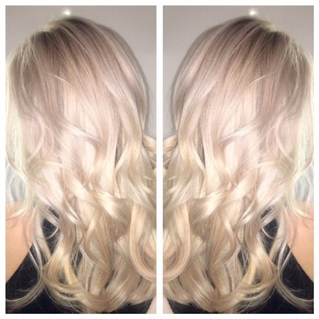 Blonde hair coloured to a platinum white tone by Leyla at the klinik hairdressing London Islington
