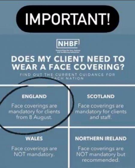 Important Information! Face masks update at the klinik salon
