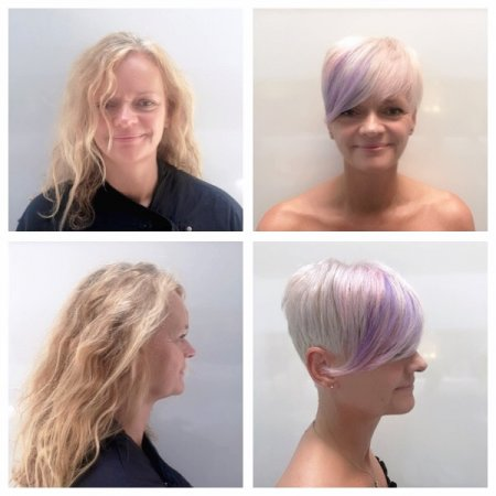 A client walks in to the klinik to ask for a massive transformation from long blond hair to a short peroxide blonde pixie cut. Great teamwork by Anna and Leyla at the klinik hairdressin in London