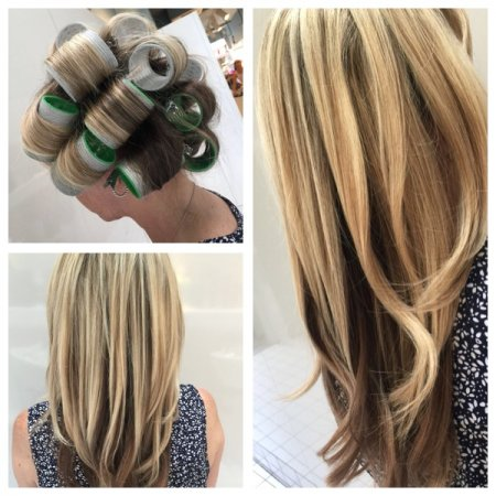 Yasmin Blowdried her clients long hair and after she set it with large velcro rollers to add rootlift and bounce at the klinik hairdressing London EC1R 4QE