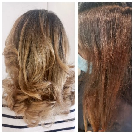 A before and after done by Corina at the klinik salon London
