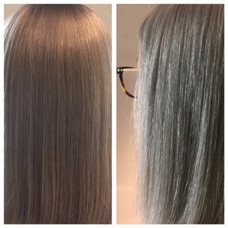 Blonde hair being transformed from a brassy warm blond to a beautiful grey tone by Jenni at the klinik hairdressing London