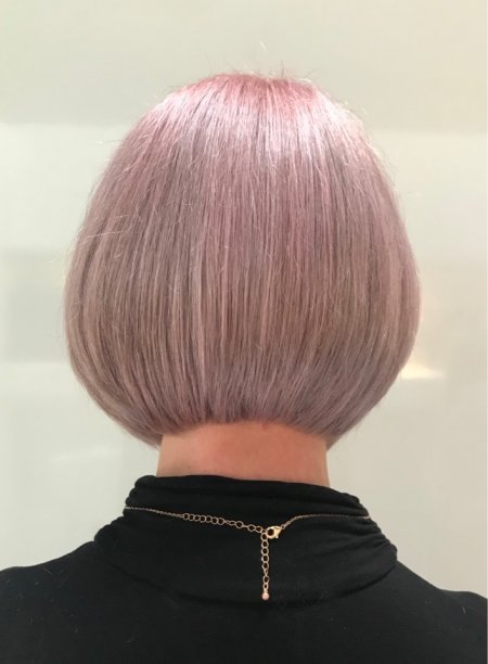 Hair cut into a sharp bob by Anna at the kinik hairdressing London