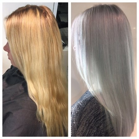 Blonde hair before and after pictures to go silver platinum by Leyla at the klinik salon London
