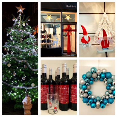 Christmas tree, Christmas window, Santas, Mulled wine and Christmaswreath at the klinik salon London