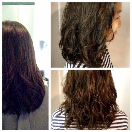 Perming using Olaplex art the klinik salon, hair done by Shiki